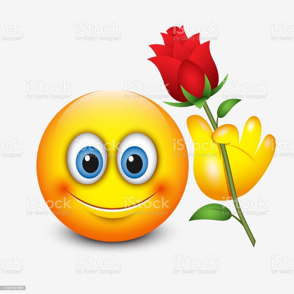 Cute Emoticon Holding Red Rose Saint Valentines Day Emoji Vector