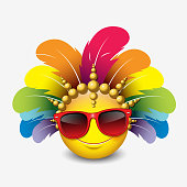 Cute emoticon isolated on white background wearing red sunglasses and carnival headdress - smiley