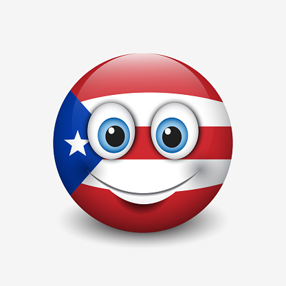 Cute emoticon isolated on white background with Puerto Rico flag motive - smiley - vector illustration