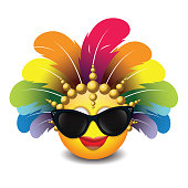 Cute emoticon isolated on white background with sunglasses and carnival headdress -emoji - smiley