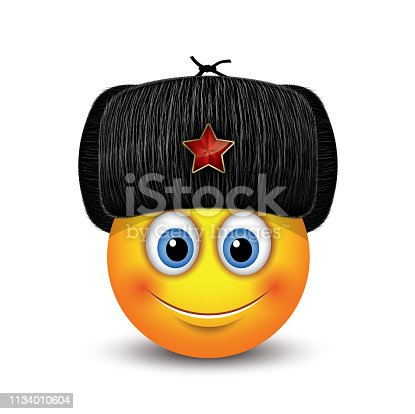 Cute emoticon wearing Russian black fur hat - ushanka - with a red star - emoji, smiley
