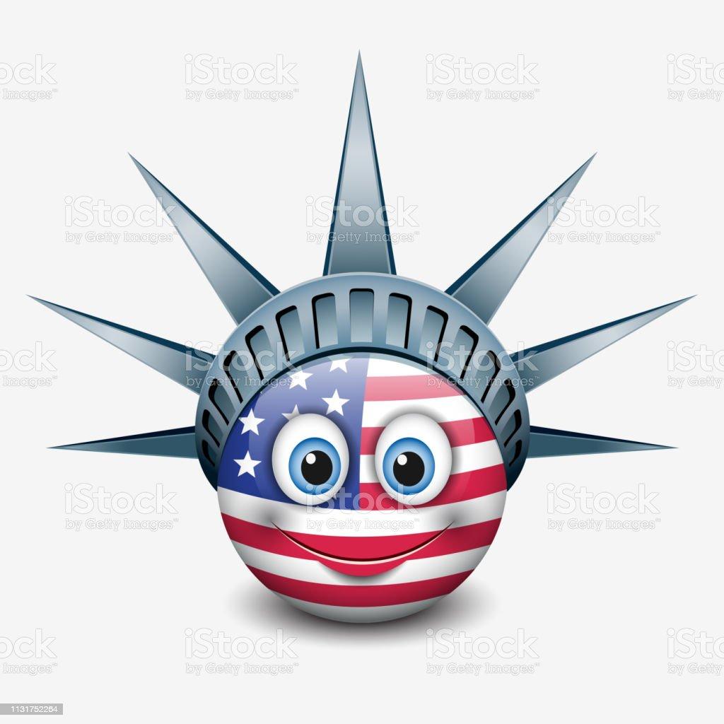 Cute Emoticon Wearing Statue Of Liberty Crown New York Emoji