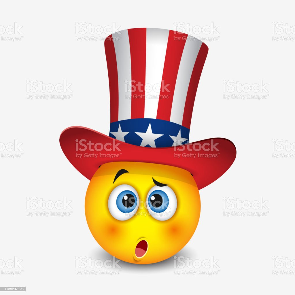 Cute Emoticon With Hat That Symbolize Flag Of United States Of