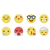 Vector illustration of a set of flat design cute emoticons