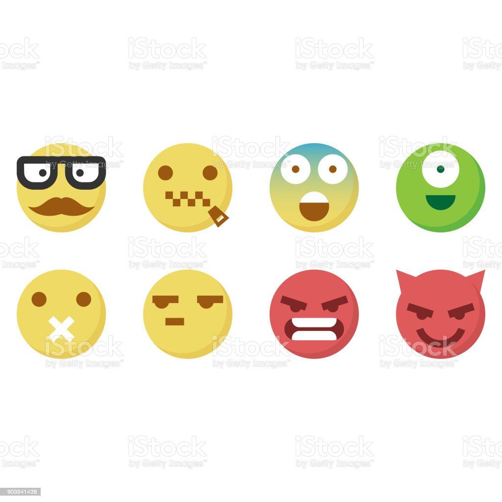 Cute emoticons 5 vector art illustration