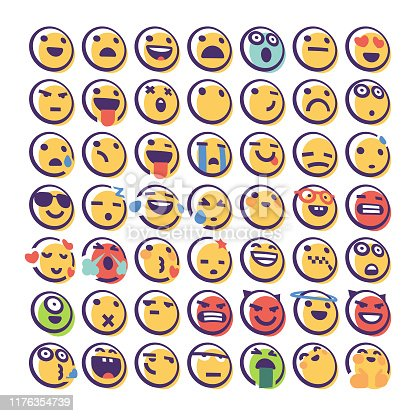 Vector illustration of a set of cute and colorful emoticons with thick line art style and offset color. Perfect for online messaging, mobile apps, social media platforms, designs projects and business and technology ideas and concepts.