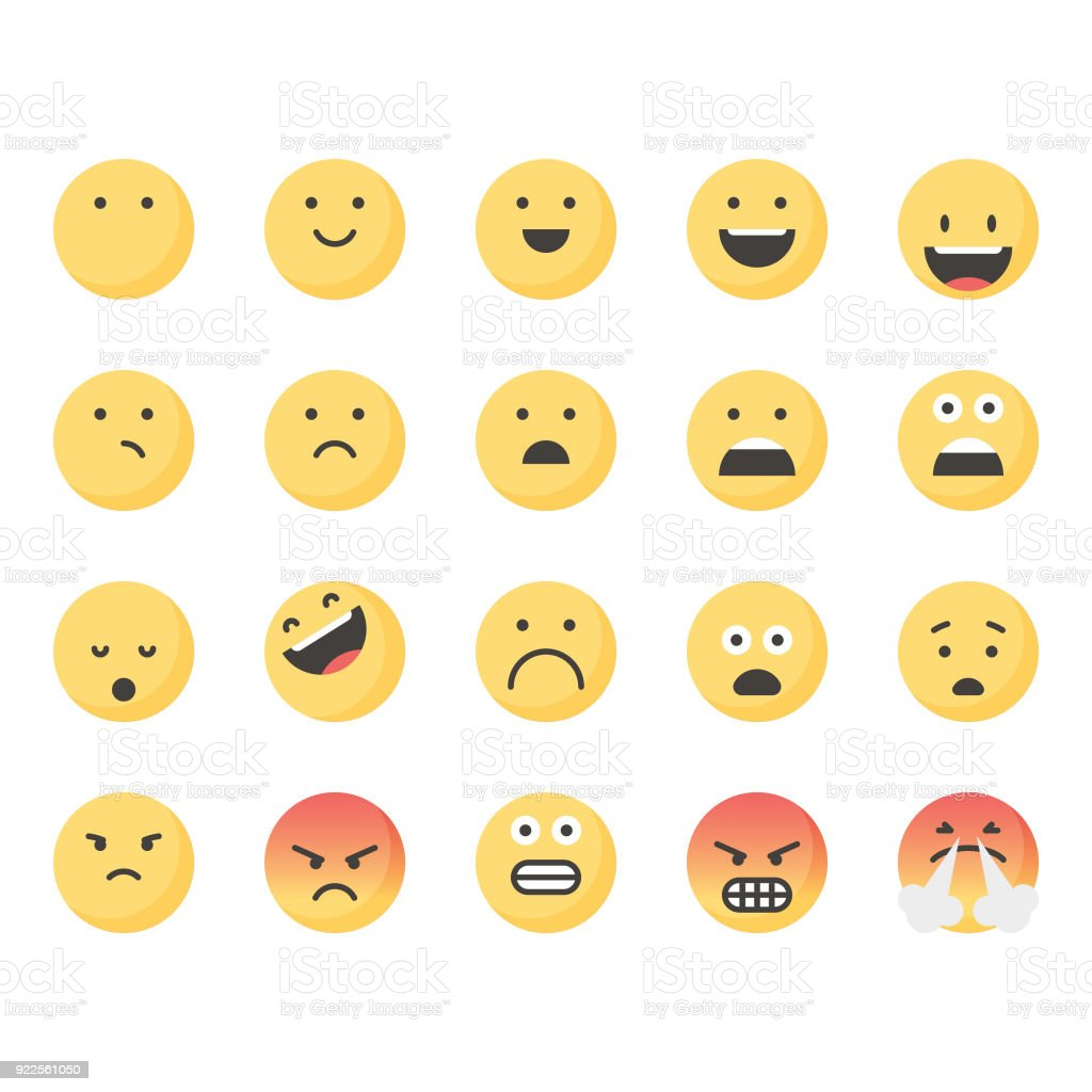 Cute emoticons set 1 vector art illustration