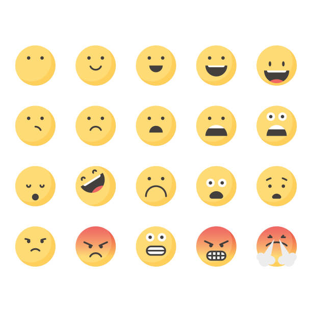 stockillustraties, clipart, cartoons en iconen met leuke emoticons set 1 - smile