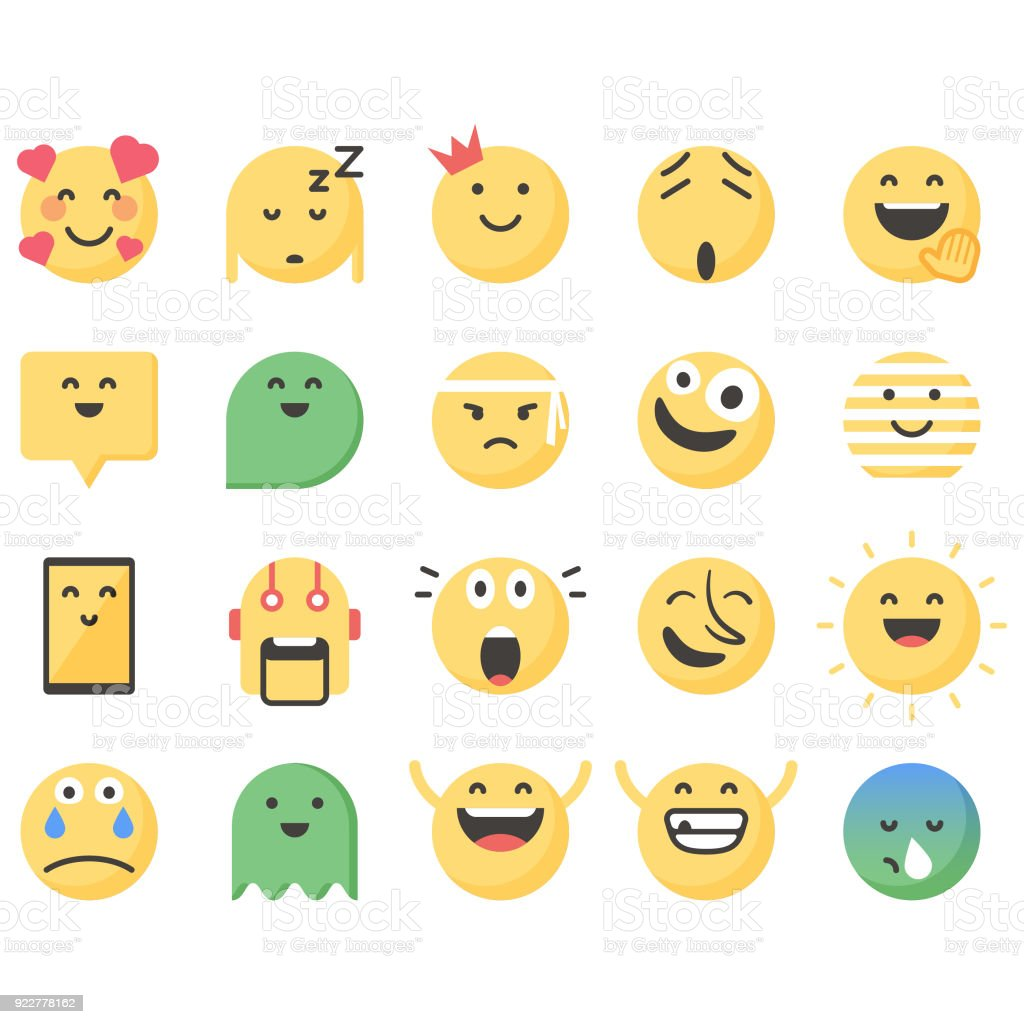 Cute emoticons set 13 vector art illustration