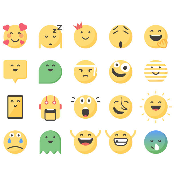 süße emoticons set 13 - verwirrtes emoji stock-grafiken, -clipart, -cartoons und -symbole