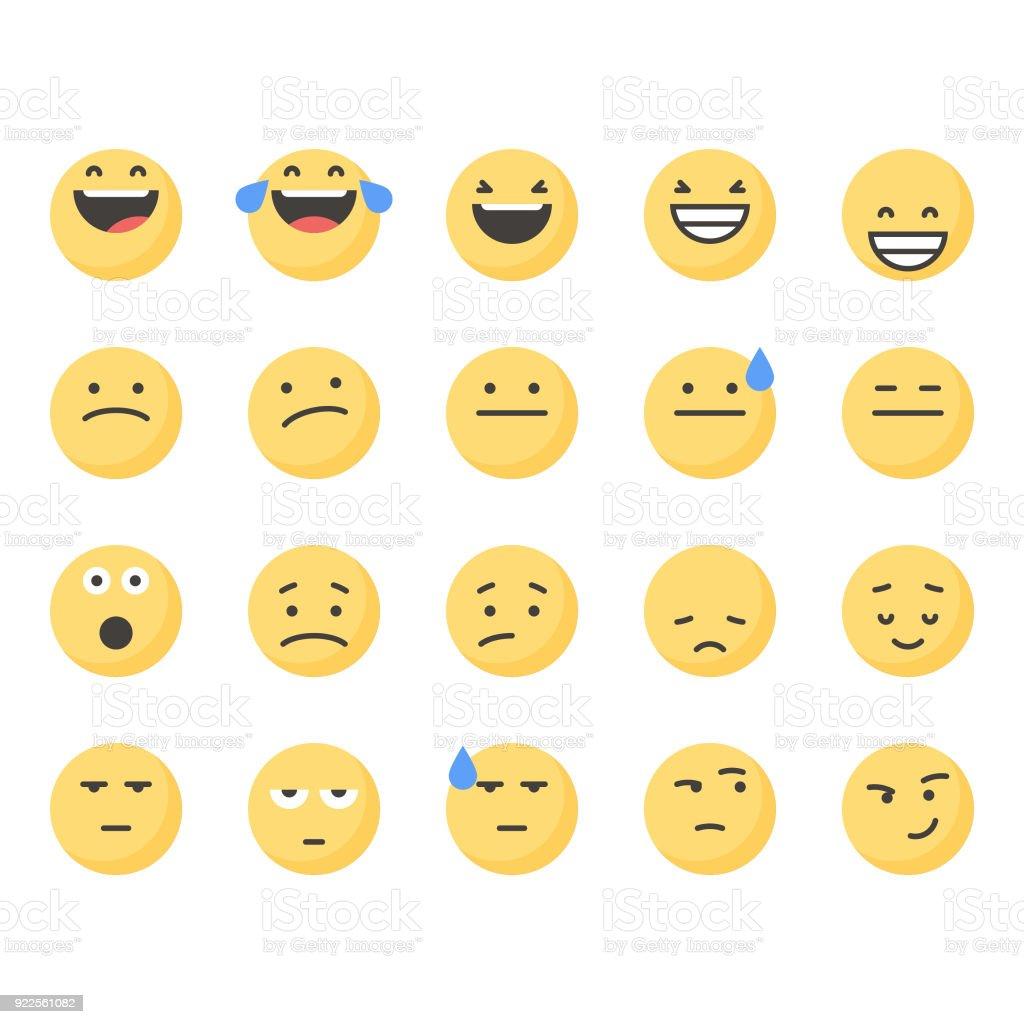 Emoticons bonitos conjunto 2 - ilustração de arte em vetor