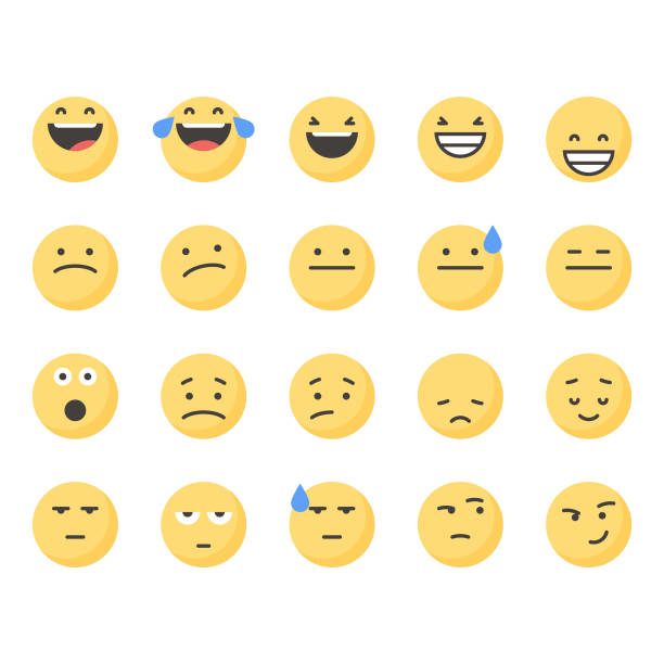 cute emoticons set 2 - confused emoji stock illustrations, clip art, cartoons, & icons