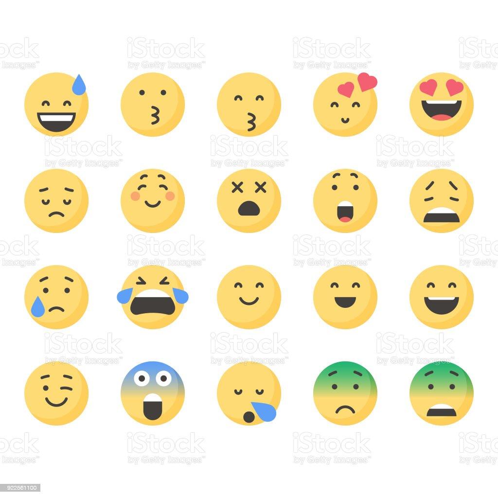 かわいい顔文字セット 3 Snsアイコンのベクターアート素材や画像を多数