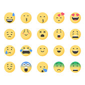 Vector illustration of a set of cute and colorful emoticons