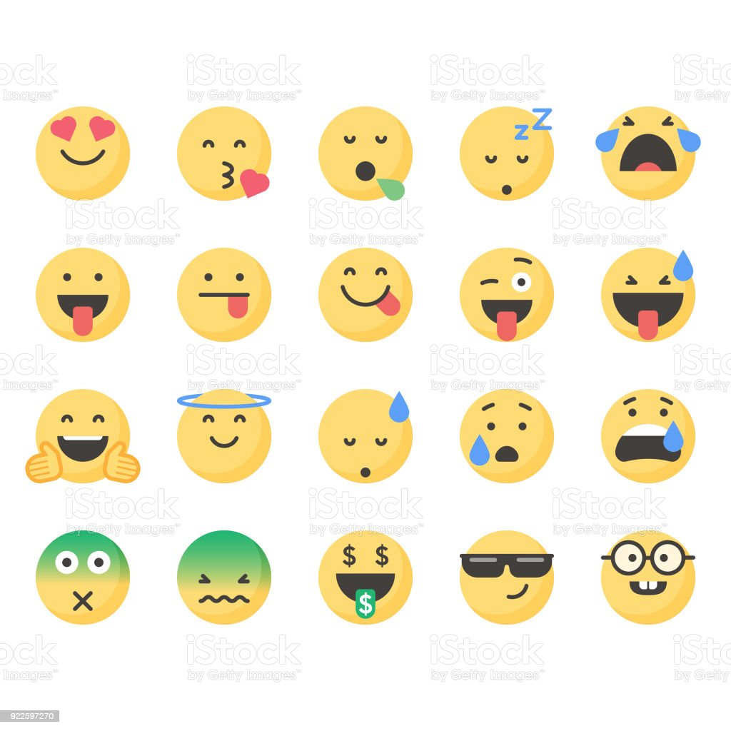 かわいい顔文字セット 4 Snsアイコンのベクターアート素材や画像を多数