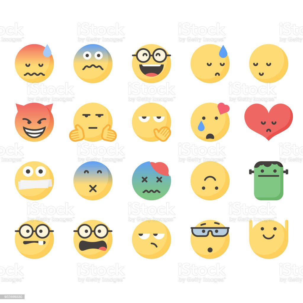 Cute emoticons set 7 vector art illustration