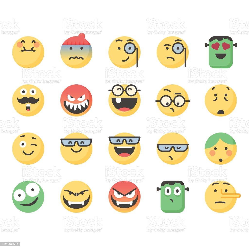 かわいい顔文字セット 9 Snsアイコンのベクターアート素材や画像を多数