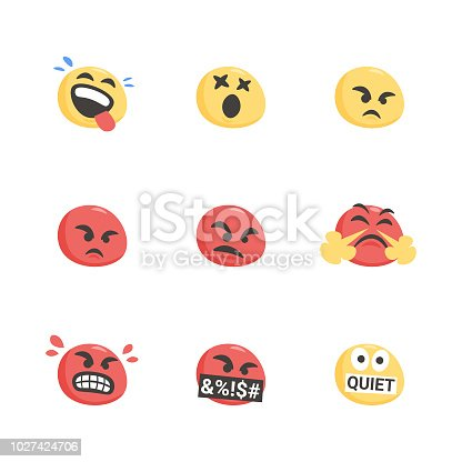Vector illustration of a set of cute and hand drawn emoticons. Flat design, ready for mobile app projects, web pages and any other kind of design project.