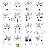 Set of cute unicorn emoticons. Smile icon set.