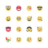 Vector illustration of a set of cute and cartoony emoticons. Flat design and bright colors.