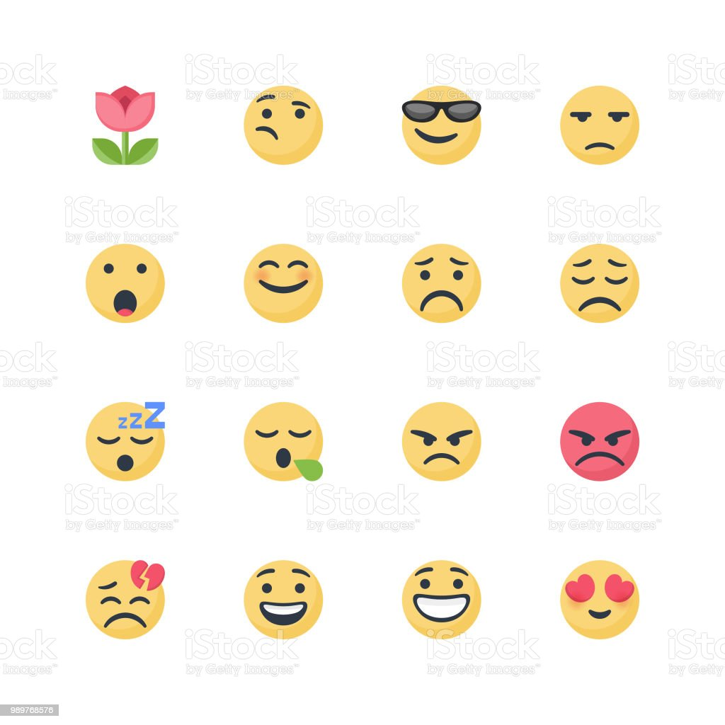 Cute emoticons set vector art illustration