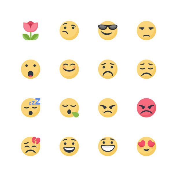 cute emoticons set - anger stock illustrations