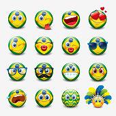 Cute emoticons set with Brazil flag motive, emoji - smiley