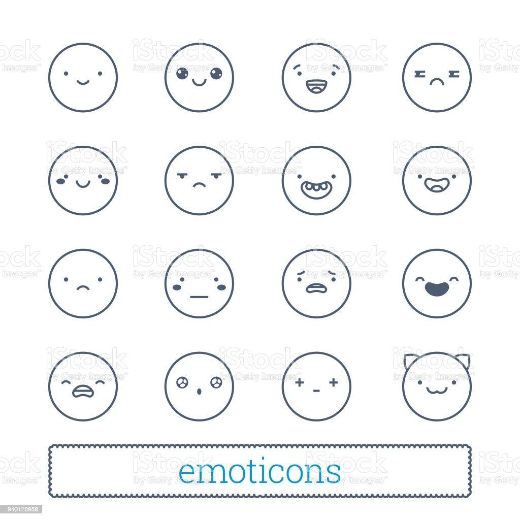 Cute emoticons thin line icons set. vector art illustration