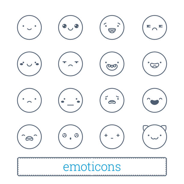 cute emoticons thin line icons set. - jealous emoji stock illustrations, clip art, cartoons, & icons