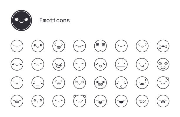 cute emoticons, varied people face expressions linear icons set. vector clipart collection isolated on white background. - jealous emoji stock illustrations, clip art, cartoons, & icons