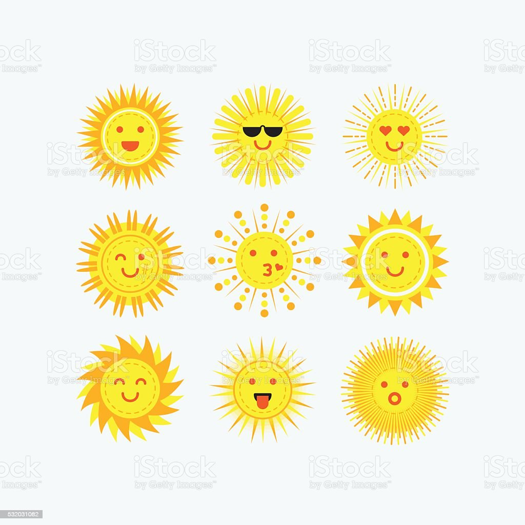Cute emotional smiling sun faces icons set on white background vector art illustration
