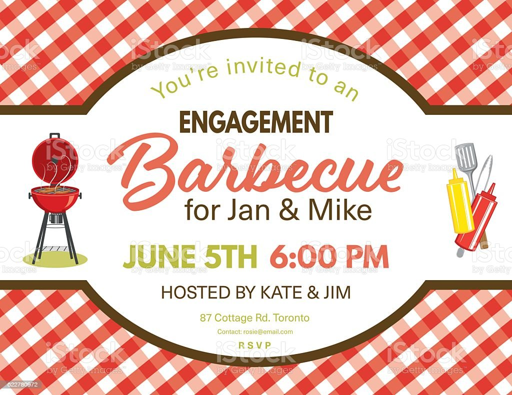 Cute Engagement BBQ Checkered Tablecloths Invitation Template Royalty Free  Cute Engagement Bbq Checkered Tablecloths Invitation