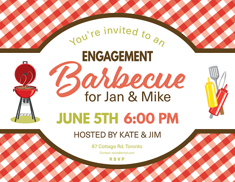 Cute Engagement BBQ Checkered Tablecloths Invitation Template