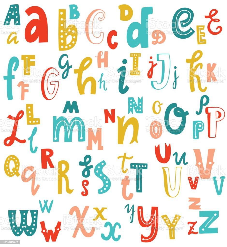 ビンテージ ベクトル フォントのアルファベットが書かれたかわいい英語の