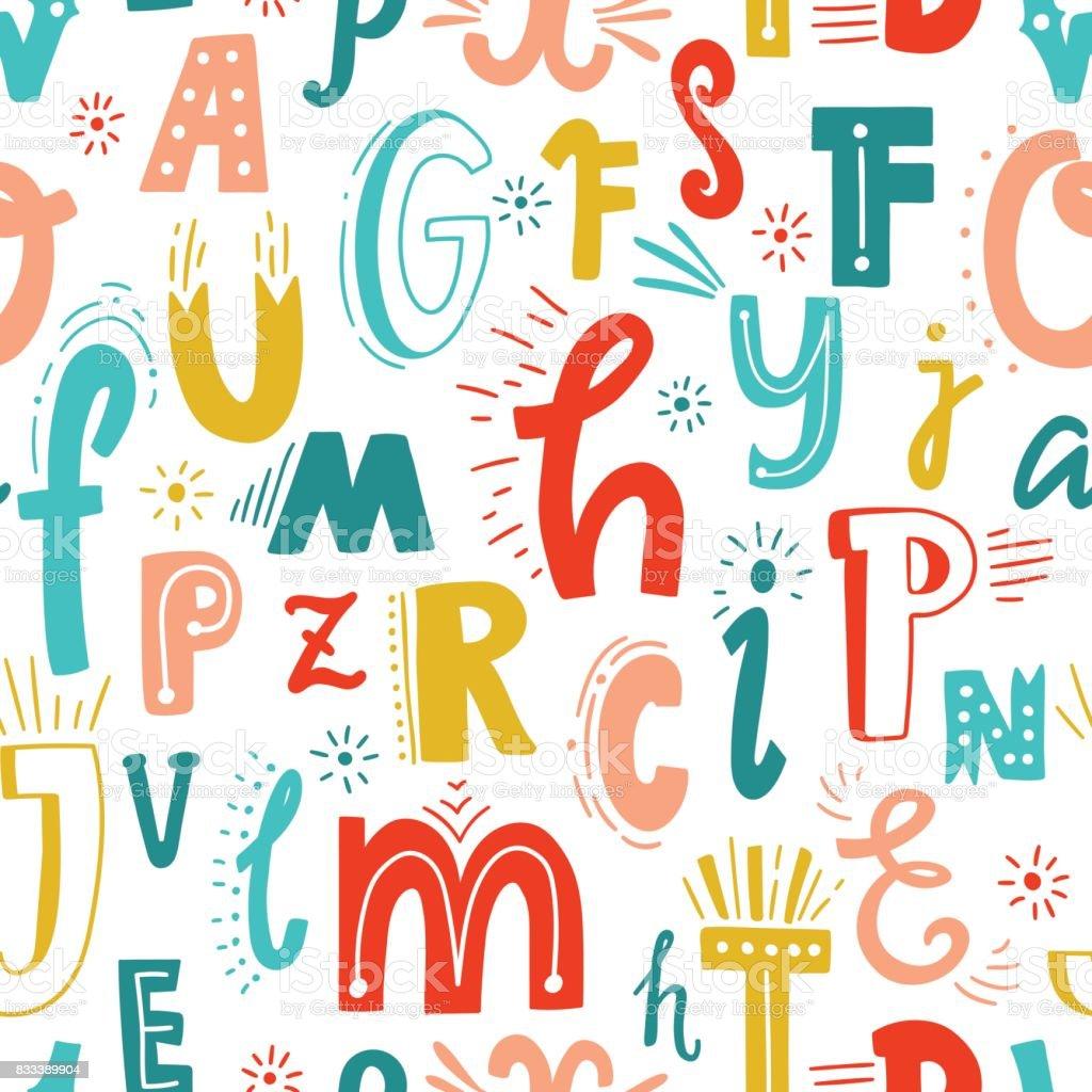 かわいい英語の書かれたアルファベットシームレスなパターンのビンテージ