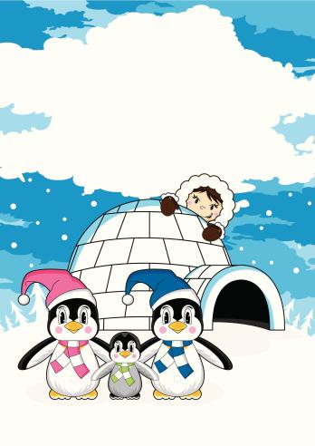 Cute Eskimo with Penguins & Igloo