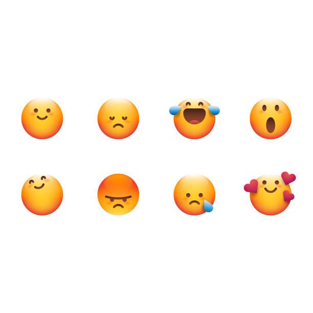 illustrazioni stock, clip art, cartoni animati e icone di tendenza di cute essential emoticons set - furioso