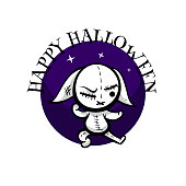 Cute evil rabbit halloween woodoo toy. Angry sewn voodoo bunny. Comic book sketch vector. Stitched thread funny puppet zombie kung fu ninja monster.