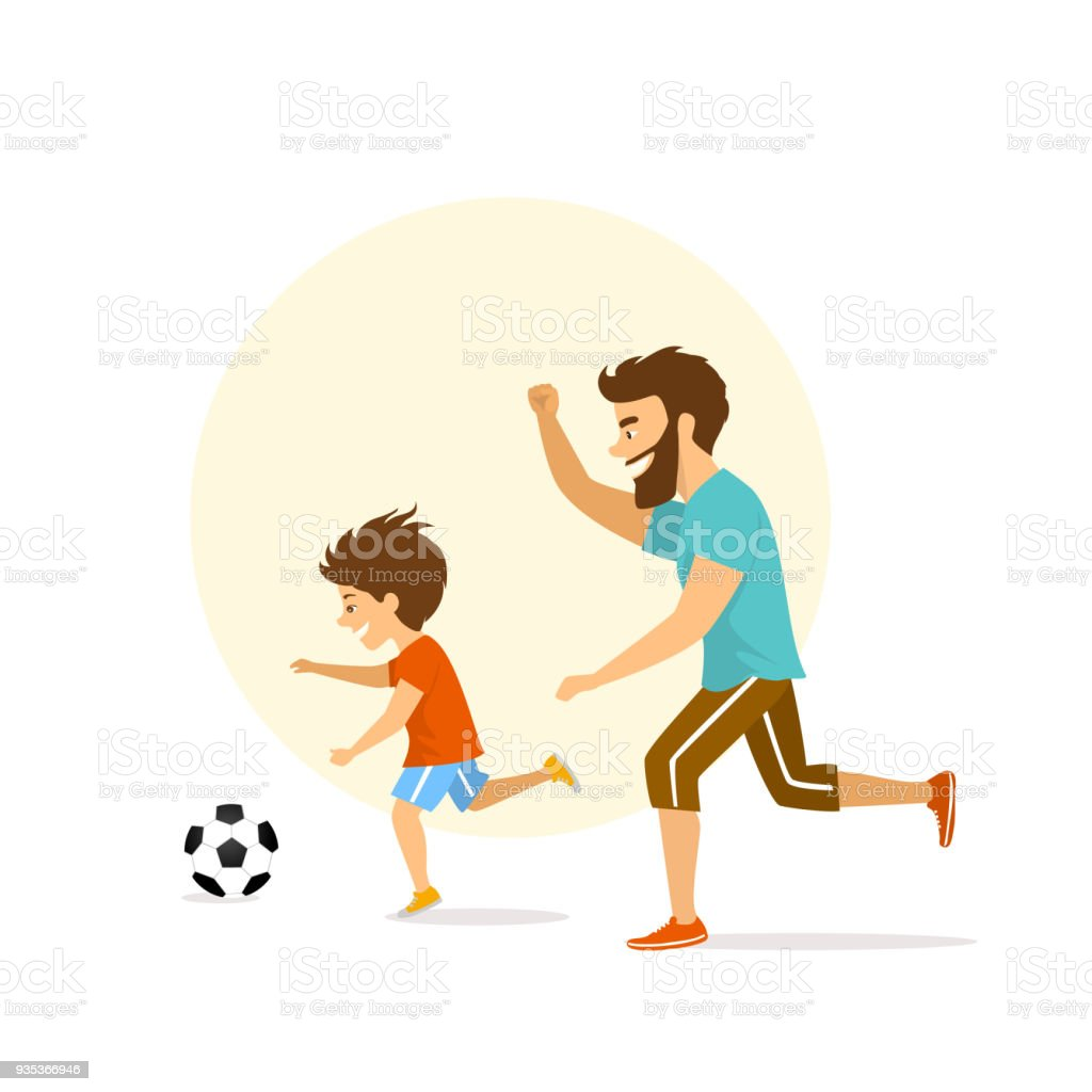 cute excited cheerful active family, man and boy, father and son playing soccer, having fun together vector art illustration