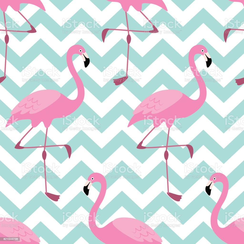 Cute exotic tropical seamless background with pink flamingos vector art illustration