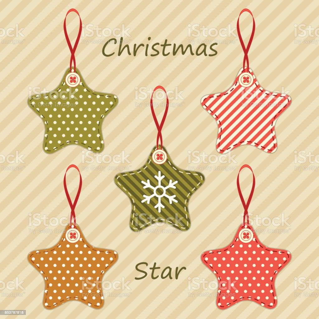 Cute fabric retro stars as Christmas decorations in shabby chic style vector art illustration