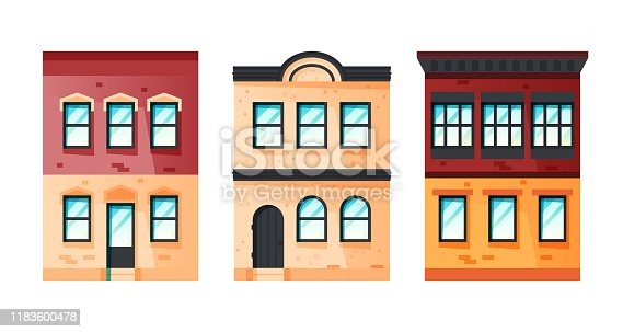 Dwelling house facades concept. Set of vintage american buildings. Vector illustration in flat style