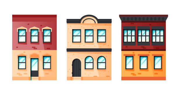 ilustrações de stock, clip art, desenhos animados e ícones de cute facades of european house, vector icon - isolated house, exterior