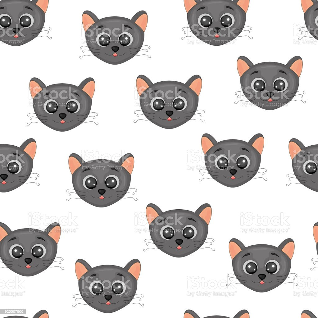 Cute Face A Head Of Cats Colorful Seamless Pattern Background With
