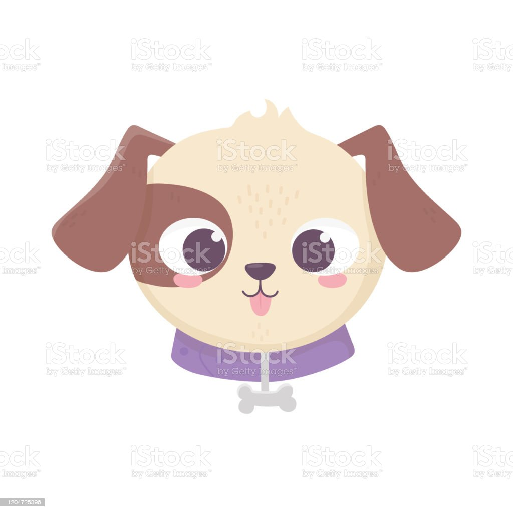 Cute Face Dog Collar With Bone Domestic Cartoon Animal Pets Stock Illustration Download Image Now Istock