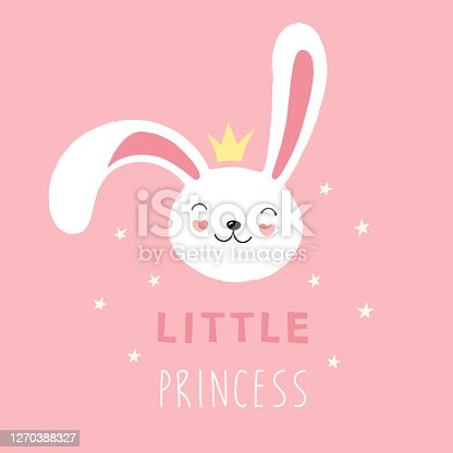 Cute face of a white rabbit, bunny, little princess. Vector cartoon illustration on a pink background, print for t-shirt, greeting card.