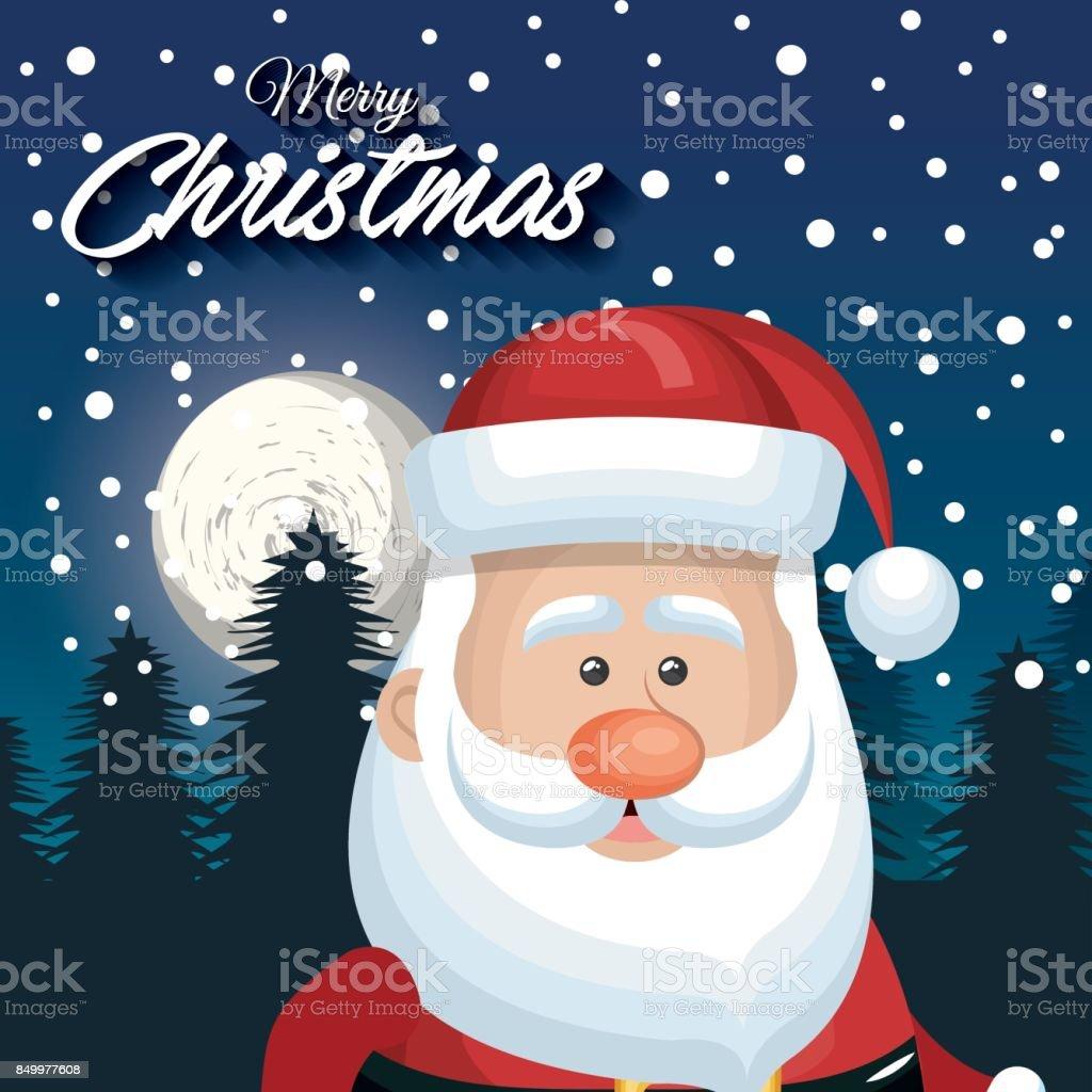 Karte Frohe Weihnachten.Süßes Gesicht Weihnachtsmann Karte Frohe Weihnachten Landschaft