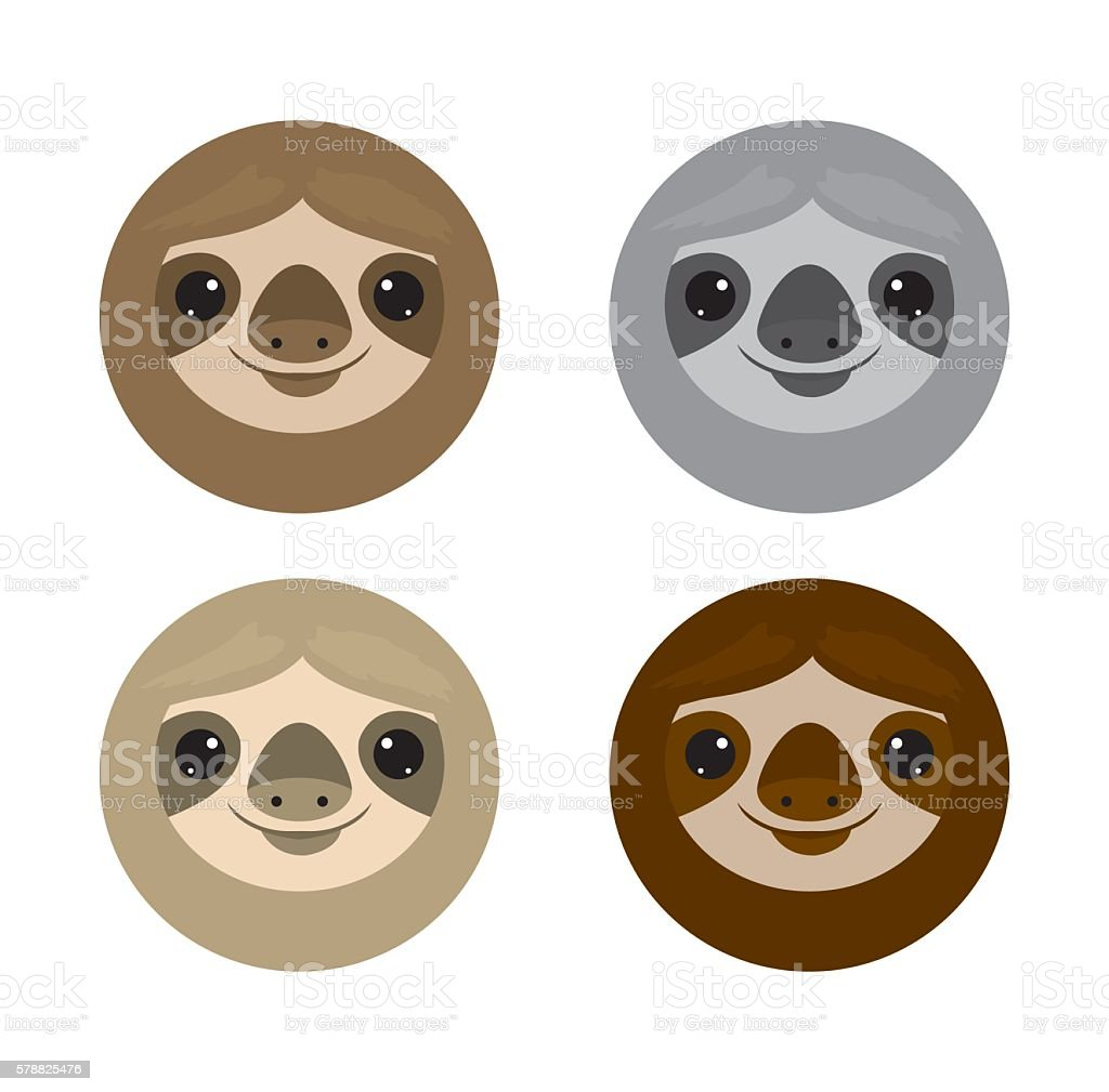 Cute face sloth, Animals. sloth on white background Vector Illustration - ilustración de arte vectorial