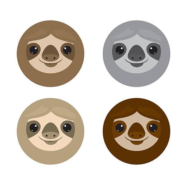 illustrations, cliparts, dessins animés et icônes de cute face sloth, animals. sloth on white background vector illustration - emoji paresseux