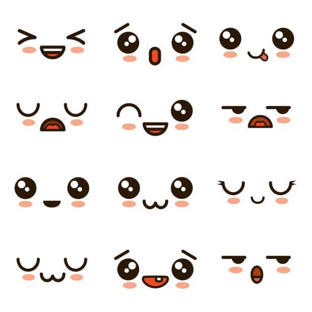 cute faces kawaii emoji cartoon cute faces kawaii emoji cartoon vector illustration graphic design shy stock illustrations